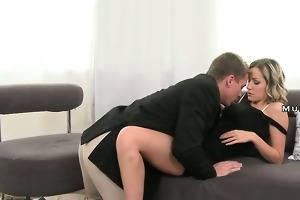 golden-haired mommy with giant whoppers fucking