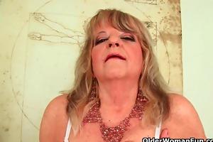 grandmother with large bra buddies pushes massive