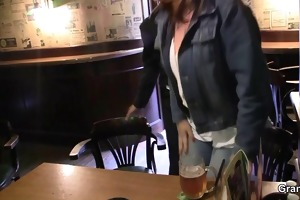 breasty older whore is picked up in the bar and