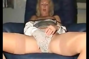 non-professional golden-haired aged masturbating