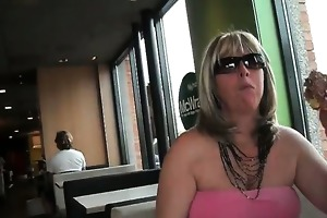 excited golden-haired hoe flashes in a diner part6