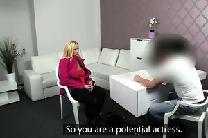 blond with biggest bazookas fucked on casting