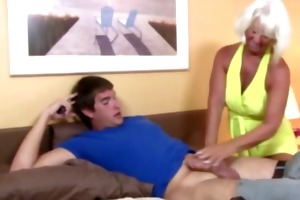 granny acquires ejaculation from shlong and can