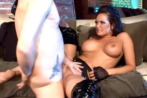 busty d like to fuck fucking in haunch high boots
