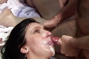 older screwed hard and taking facial cum