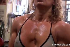 hot older golden-haired workout