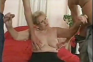 older in glasses and nylons