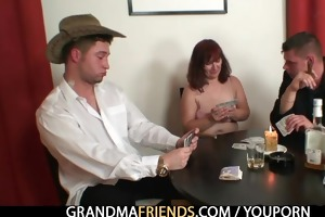 granny plays poker then receives double dicked
