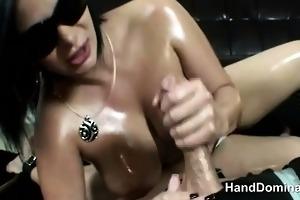 excellent femdom gives breathtaking tugjob
