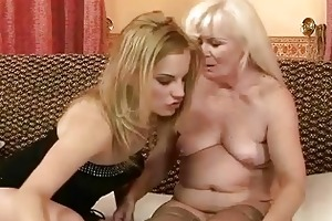 unattractive granny enjoying lesbo sex with hawt
