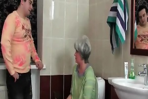 excited stud enters the washroom where her older