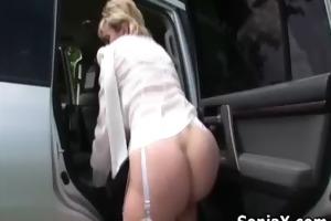 slutty older masturbates snatch in the car