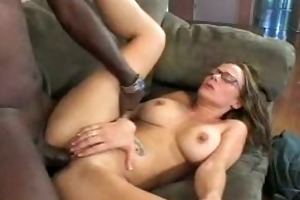 hawt mama enjoys threesome darksome knob