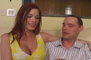 beautiful redhead receives hard cock from fresh