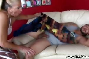 lewd breasty aged engulfing threesome