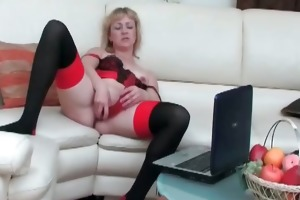 corpulent blond mama in nylons gives part3