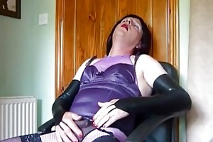 mature crossdresser in purple underware
