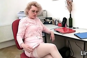 aged woman masturbating in the office