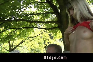 youthful nasty blond seduces and copulates older