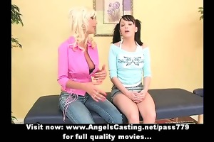 astounding dilettante blond and dark brown lesbo
