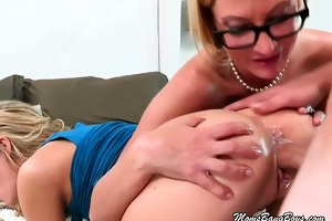 golden-haired mama and juvenile slut show love to