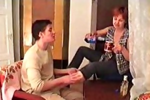 drunk older mamma drilled on the carpet by