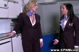air hostess with moutful of knob for her