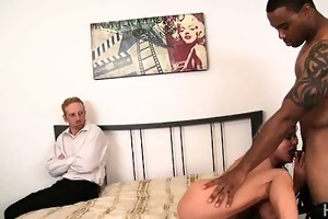 blonde wife humiliates spouse with dark paramour