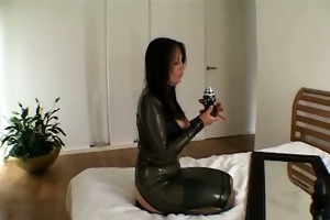 naughty dark brown wench goes insane fake penis