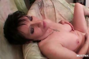 breasty older dark brown stuffing her fur pie