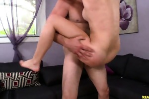 lily rides jock in standing cradle reverse