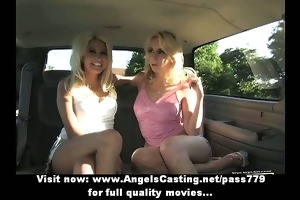 lesbian babes and cute hitchhiker giving a kiss