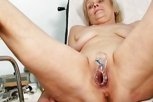 indecent blond granny acquires her cunt gaped at