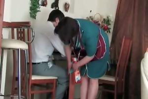 older maid sucks on guy jock