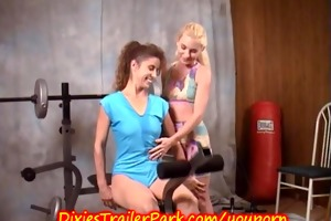 milf and her lesbo trainer at gym bare