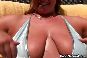 excited bigtit golden-haired slut stripping