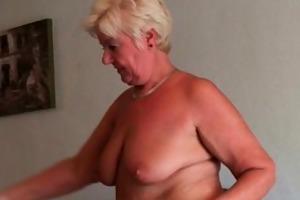 incredibly sexed grandma sandie rubs her pierced