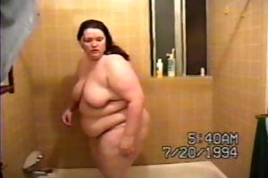 chubby wife getting out of washroom