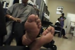 smooth foot soles on aged swarthy woman