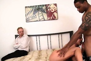 blond wife humiliates spouse with black paramour
