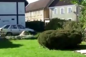 sunbathing granny blows chap in yard