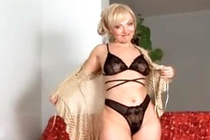 mature aged golden-haired anal bead play