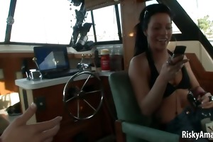 lustful amateur chicks masturbating on a boat