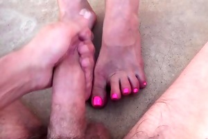 pussy, large clitoris and cum on feet at pool