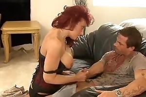 red headed momma nikki sinn stuffs her moist face