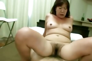 asian tramp receives her hirsute vagina rocked on