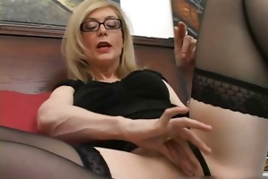 blond in glasses licking rigid