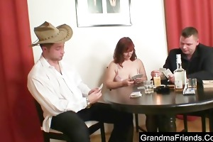 granny plays poker and receives drilled