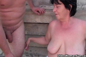 unattractive grandma with 1 inch nipps receives