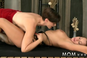 mamma lesbo mother i with large tits kisses and